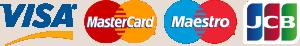 Credit card logos. Visa. Mastercard. Maestro. JCB.